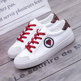 Cherry-Red Round Toe Flat Sequin Lace-up Casual Shoes