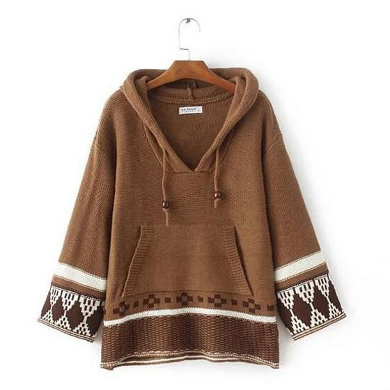 Coffee Color Block Drawstring Hooded National Cotton Pullover Sweater