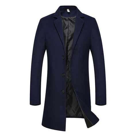 Winter Single Breasted Mid-long Business Casual Trench Coat Slim Fit Jacket for Men