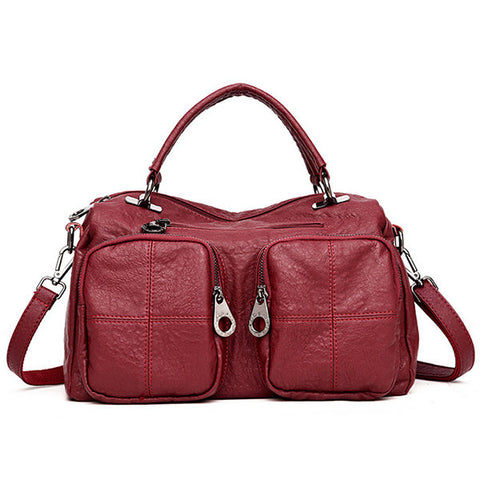 Women PU Leather Pockets Messenger Bag Large Crossbody Bag