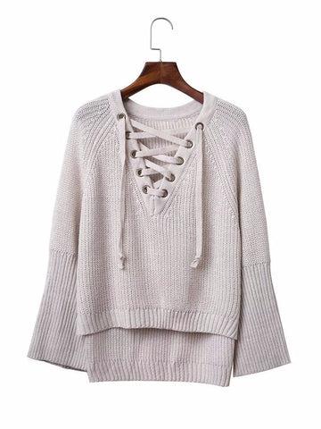 Women Casual Knitting Cross Strap Horn Sleeve V-neck Sweater