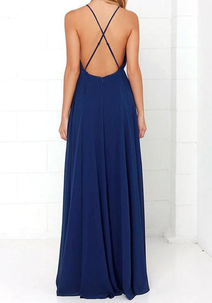 Dark Blue Plain Grenadine Cross Back Backless Party Elegant Maxi Dress