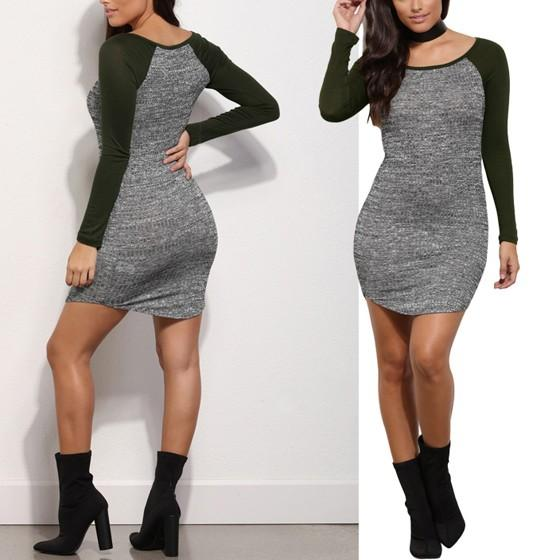 Dark Green Patchwork Round Neck Long Sleeve Mini Dress