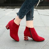 Beaded Chunky Heel Suede Pointed Toe Ankle Boots