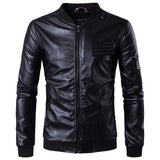 Black Biker Flag Embroidery Pockets Synthetic Faux Leather Jacket for Men