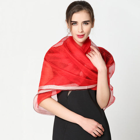 Solid Color Soft Silky Silk Scarf Beach Casual Sunscreen Breathable Shawl For Women