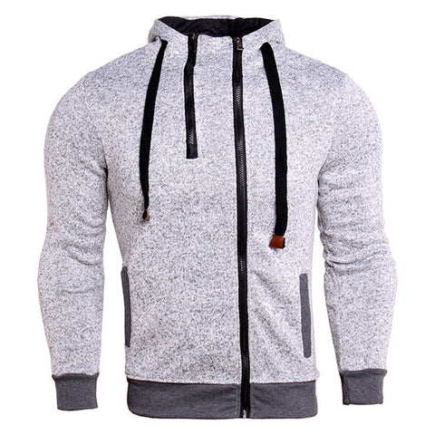 Mens Hoodies Solid Color Zip up Hood Thick Warm Casual Sport Hooded Tops