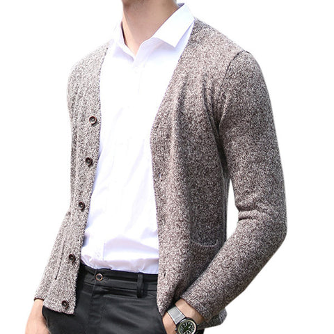 yanyuanlong Mens Fashion Thicken Long Sleeve Cardigan Knit Sweater