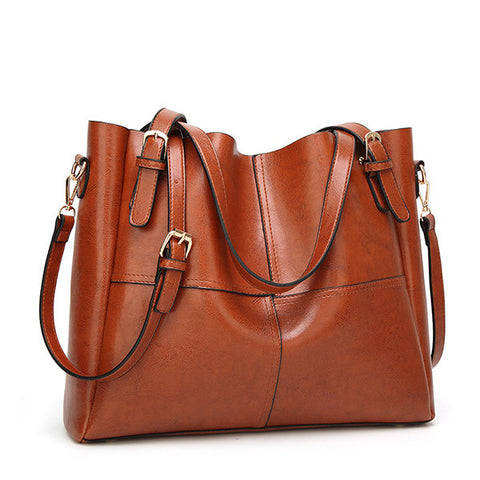 Women Oil PU Leather Vintage Shoulder Bags Handbag Crossbody Bag