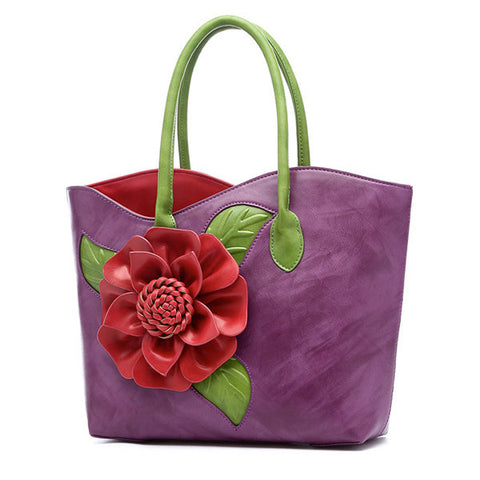 Women National Style Flower Decoration Handbag PU Leather Sling Bag