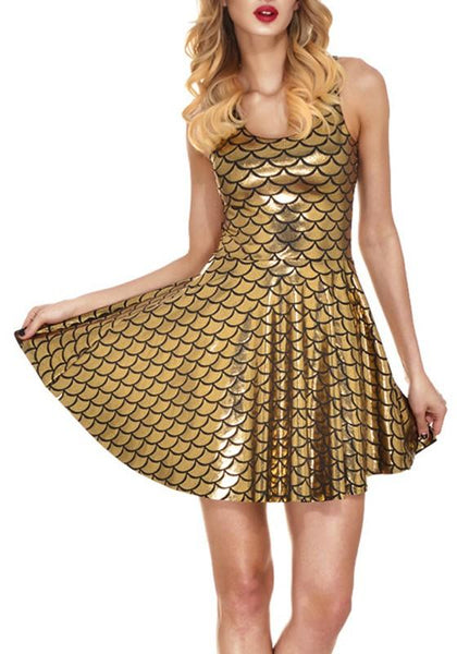 Golden Mermaid Shiny Fish Scale Printed Sparkly Sequin Draped Scoop Neck Skinny Fashion Tank Mini Dress