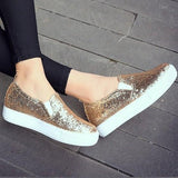 Golden Round Toe Sequin Casual Heavy-Soled Shoes