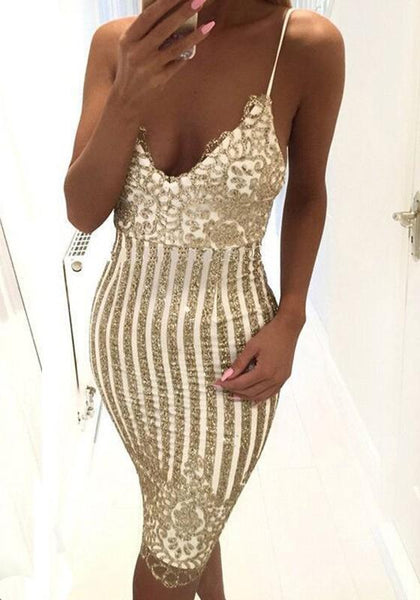 Golden Striped Sequin Hollow-out Spaghetti Straps Deep V-neck NYE Party Mini Dress