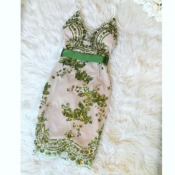 Green Patchwork Condole Belt Sequin Plunging Neckline Mini Dress