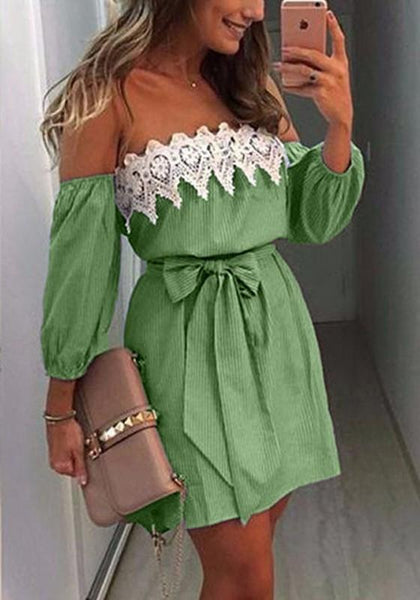 Green Patchwork Hollow-out Lace Belt Wavy Edge Fashion Mini Dress
