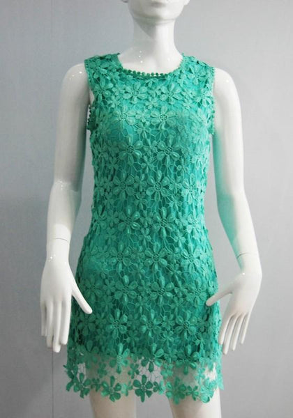 Green Patchwork Lace Hollow-out 2-in-1 Round Neck Sleeveless Mini Dress