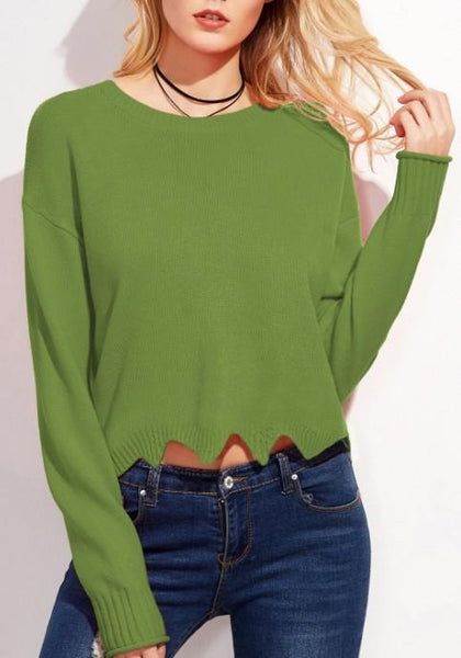 Green Wavy Edge Round Neck Long Sleeve Pullover Sweater