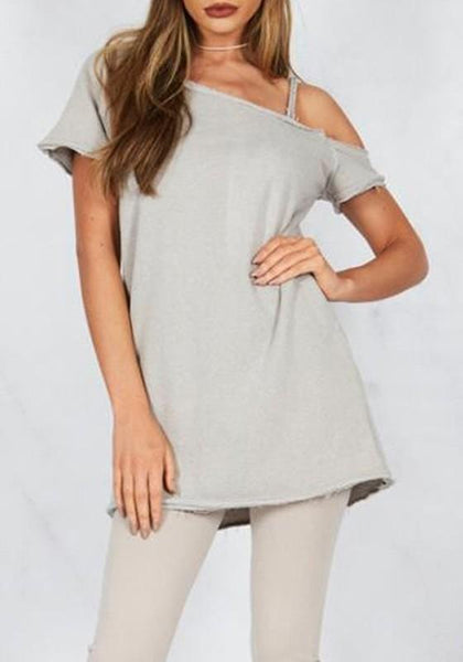 Grey Asymmetric Shoulder Short Sleeve Fashion Mini Dress