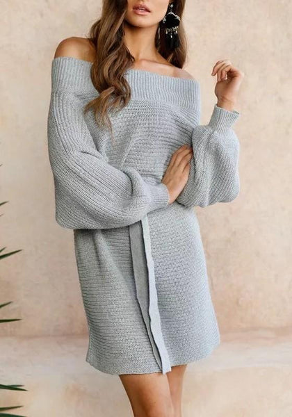Grey Drawstring Boat Neck Long Sleeve Fashion Mini Dress