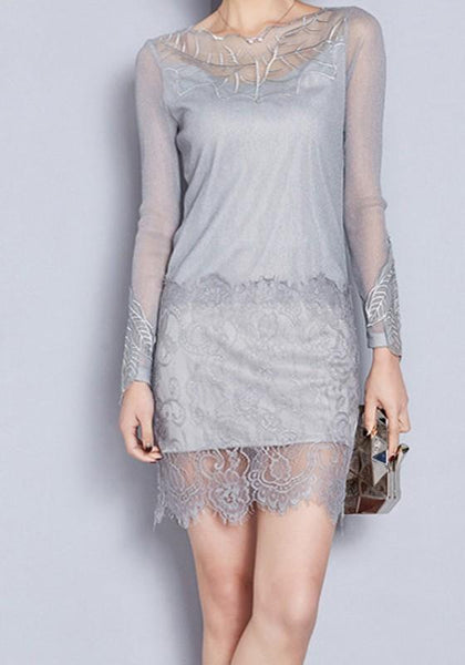 Grey Floral Patchwork Wavy Edge Grenadine Hollow-out Lace Plus Size Mini Dress
