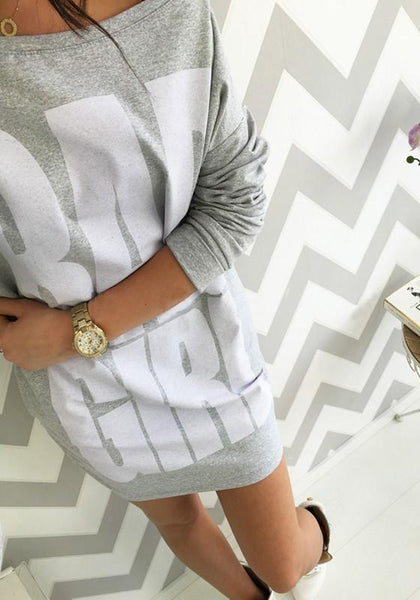 Grey Monogram Print Round Neck Long Sleeve Mini Dress