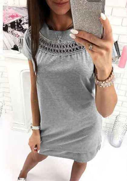 Grey Mosaic Irregular Cut Out Casual Mini Dress