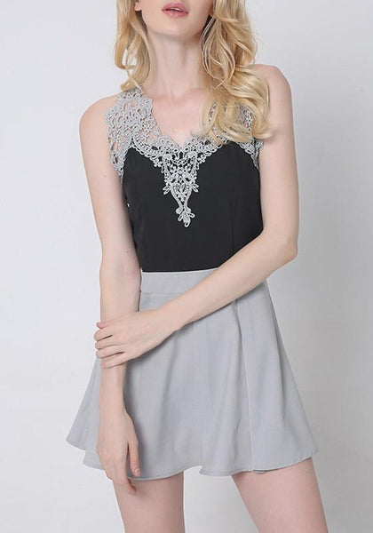 Grey Patchwork Hollow-out Lace Pleated V-neck Mini Dress