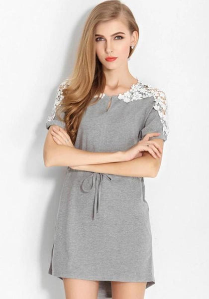 Grey Patchwork Lace Drawstring Short Sleeve Dress