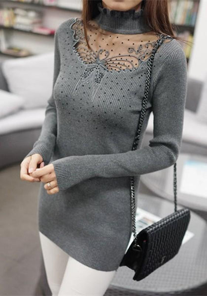 Grey Patchwork Sequin Grenadine High Neck Pullover Sweater