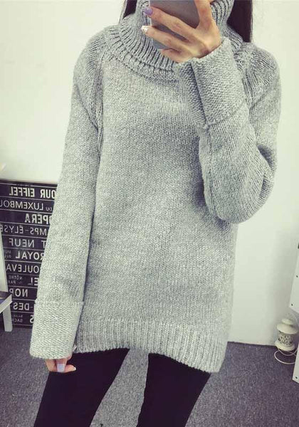 Grey Plain Band Collar Long Sleeve Pullover Sweater