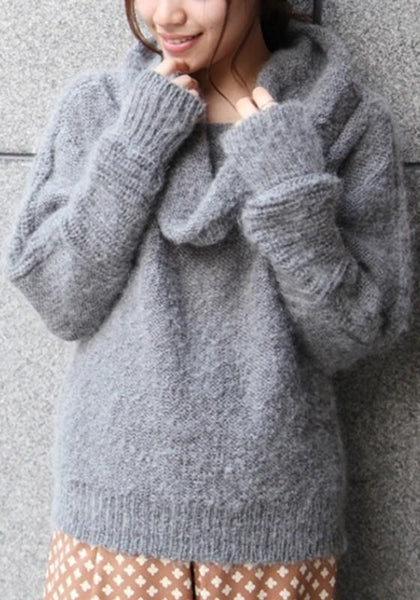 Grey Plain Casual Turndown Collar Long Sleeve Pullover Sweater