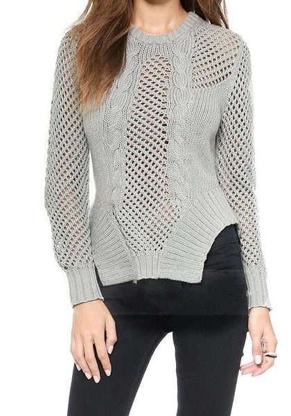 Grey Plain Hollow-out Irregular Round Neck Pullover Sweater