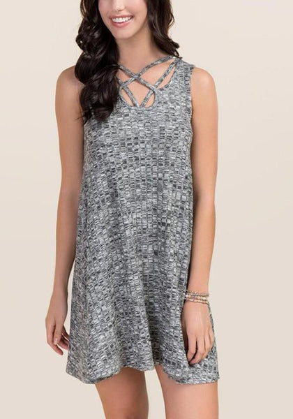 Grey Plain Hollow-out Round Neck Mini Dress