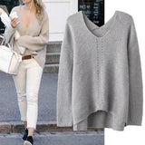 Grey Plain Irregular V-neck Casual Loose Pullover Sweater