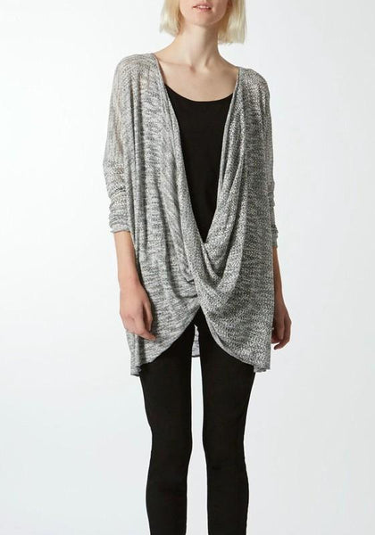 Grey Plain Plunging Neckline Casual Pullover Sweater