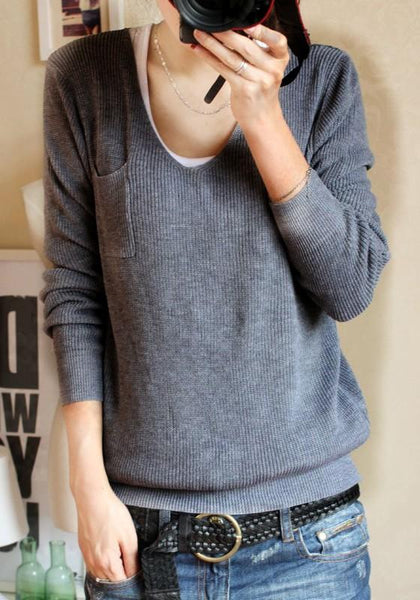 Grey Plain Pockets Long Sleeve Sweater