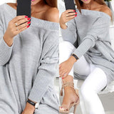 Grey Pockets Boat Neck Long Sleeve Casual Pullover Sweater