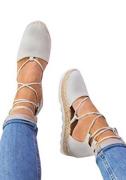 Grey Round Toe Flat Cross Strap Casual Shoes