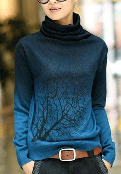 Jean Blue Tree Print High Neck Sweet Pullover Sweater
