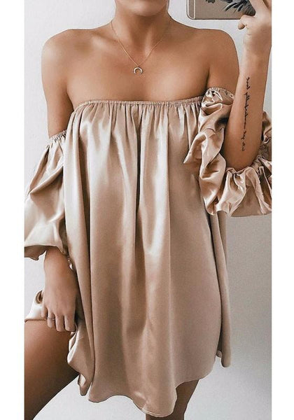 Khaki Draped Off Shoulder Boat Neck Short Sleeve Mini Dress