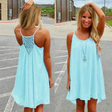 Light Blue Patchwork Cut Out Draped Round Neck Sleeveless Mini Dress