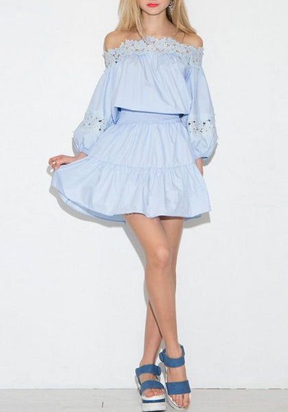 Light Blue Patchwork Ruffle Lace Hollow-out Off Shoulder Boat Neck Long Sleeve Adorable Mini Dress