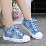 Light Blue Round Toe Flat Lace-up Canvas Casual Shoes