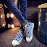 Light Blue Round Toe Flat Zipper Casual Canvas Shoes