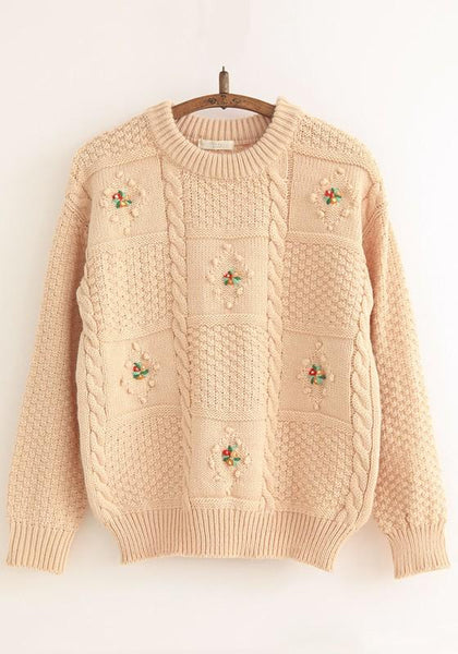 Light Khaki Plain Flowers Embroidery Sweet Pullover