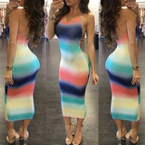 Multicolor Colorful Print Cross Back Backless Round Neck Sleeveless Maxi Dress