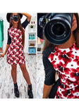 Multicolor Floral Print Round Neck Fashion Mini Dress