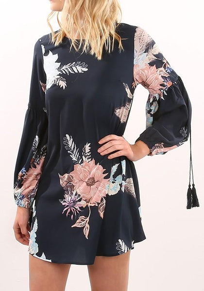 Multicolor Floral Tassel Round Neck Casual Mini Dress