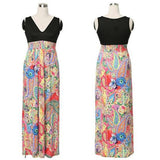 Multicolor Patchwork Floral Print A-line Sleeveless High Waisted Bohemian Maxi Dress