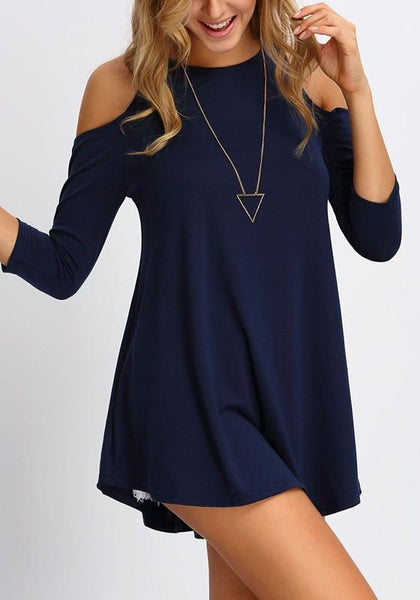 Navy Blue Draped Cut Out Round Neck 3/4 Sleeve Casual Mini Dress